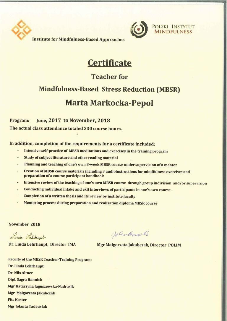 certyfikat MBSR - skan